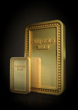 Gold bar on black background Stock Photography