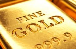 Gold bar close up Stock Images