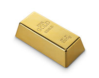 Gold bar. Close up of gold bar on white background royalty free stock photo