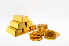 Gold bar coin Stock Photos