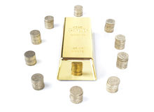 Gold bar with coins Royalty Free Stock Photos