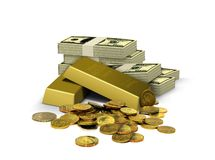 Gold Bar with Currency Notes and Coins Royalty Free Stock Photo