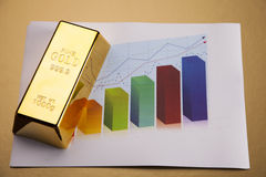 Gold bar on diagram Stock Photo