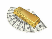 Gold bar and dollar money royalty free stock images