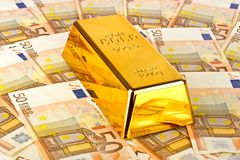 Gold bar and euro money. Currency Royalty Free Stock Photos