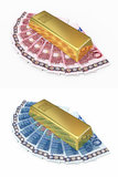 Gold bar and euro money. 3d render Gold bar and euro money (isolated on white and clipping path Royalty Free Stock Photography