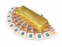 Gold bar and fifty euro money. 3d render Gold bar and fifty euro money ( on white and clipping path Stock Photo