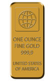 Gold Bar - Fine Gold 999,9. Gold bar shown on white canvas Stock Images