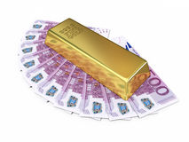 Gold bar and five hundred euro money Stock Images