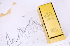 Gold bar on graphs Royalty Free Stock Photo