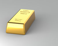 Gold bar on Gray Background Royalty Free Stock Photography