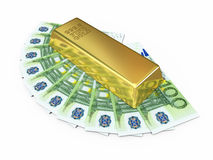 Gold bar and hundred euro money Royalty Free Stock Photos
