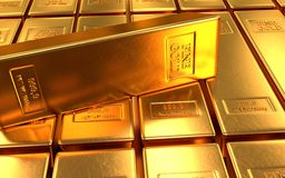 Gold bar, ingot on gold backgrounds Stock Photo