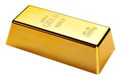 Gold bar isolated with clipping path Royalty Free Stock Images