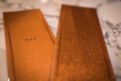 Gold bar menus Stock Photography