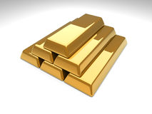 Gold Bar Pyramid. 3D rendered Illustration. Gold Bar Pyramid Stock Image