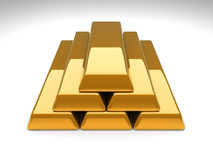 Gold Bar Pyramid. 3D rendered Illustration. Gold Bar Pyramid Stock Photos