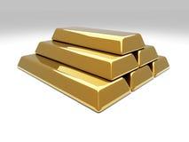 Gold Bar Pyramid. 3D rendered Illustration. Gold Bar Pyramid Stock Photo