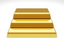 Gold Bar Pyramid. 3D rendered Illustration. Gold Bar Pyramid Royalty Free Stock Images