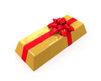 Gold Bar with Red Ribbon Stock Images