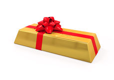 Gold Bar with Red Ribbon Royalty Free Stock Photography