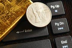 Gold bar scene. royalty free stock photo