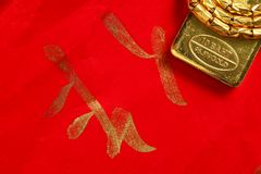 Gold bar scene. The gold bar put on the red color paper with chinese letter written from chinese brush as a background  represent the wishes concept related Royalty Free Stock Photos