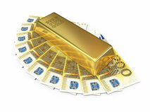 Gold bar and two hundred euro money stock photo