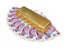 Gold bar and  Two hundred tl money Stock Images