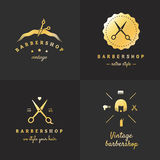 Gold barbershop logo vector set. Vintage design. Part two. Royalty Free Stock Photo