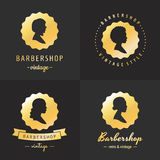 Gold barbershop profiles vintage logo vector set. Part one. Stock Photography