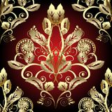Gold Baroque 3d seamless pattern. Vector ornate Damask background wallpaper with vintage 3d flowers, scroll leaves, swirls, dots. Rich beautiful texture Royalty Free Stock Photo
