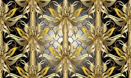 Gold Baroque floral 3d seamless pattern. Vector textured lattice. Grid shiny background. Luxury ornate 3d wallpaper. Ornate damask ornament. Vintage flowers Royalty Free Stock Image