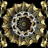 Gold Baroque floral 3d vector seamless pattern. Ornamental background with round mandala in Baroque Victorian style. Modern stock illustration