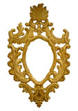 Gold baroque frame. Shabby gold vintage frame isolate on white Royalty Free Stock Photos