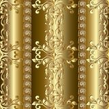 Gold Baroque seamless pattern. Greek ornaments. Gold Baroque seamless pattern. Golden striped background wallpaper illustration with vintage 3d Damask flowers royalty free illustration