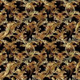 Gold Baroque seamless pattern with intricacy leaves. Gold Baroque vector seamless pattern. Floral vintage damask background. Golden flowers, scrolls, leaves Royalty Free Stock Images