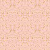 Gold baroque seamless pattern. Luxury gold baroque seamless pattern on pink background. For wallpaper, wrapping, textile, web page background, invitation card Stock Photo