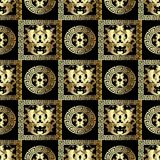 Gold Baroque seamless pattern. Modern floral black background wi. Th golden 3d damask flowers, scroll leaves, circles, mandalas, frames, meander, greek key Royalty Free Stock Photography