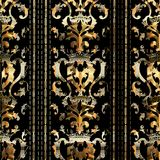 Gold Baroque seamless pattern with royal crown Stock Images