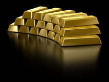 Gold Bars. Isolated on black Royalty Free Stock Photos