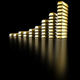 Gold Bars. Isolated on black Royalty Free Stock Image
