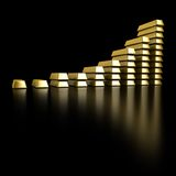 Gold Bars. Isolated on black Royalty Free Stock Photography
