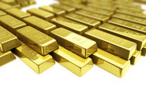 Gold bars. Gold it is isolated on a white background Stock Images
