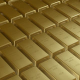 Gold bars. Rows of 1 kg gold bars Royalty Free Stock Photography