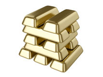 Gold bars. 3D computer illustration on white background Stock Photography