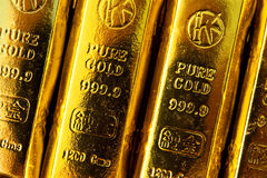 Gold bars. Close up shot Stock Photos