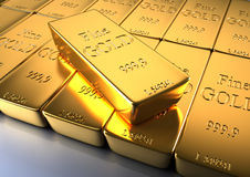 Gold bars. 3d rendered illustration of gold bars, close up Royalty Free Stock Image