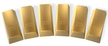 Gold bars. Six 3d gold bars in row Stock Photo