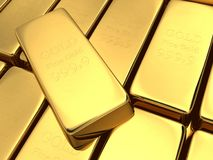 Gold bars. Stacked on top of each other. Fine Gold 999.9 Royalty Free Stock Image